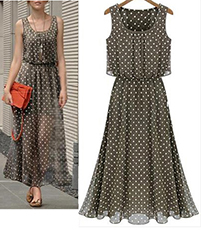 Chiffon Maxi Dress – Tiered Waistline / Retro Polka Dot Design