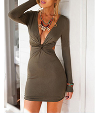 Tie-Front Bodycon Dress – Deep Olive / Back Cutout / Daring Low Neckline