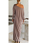 One Shoulder Maxi Dress – Taupe / Long Rounded Neckline / Long Raglan Style Sleeves