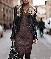 Midi Dress – Brown Tweed / Long Sleeves / Simple Rounded Neckline