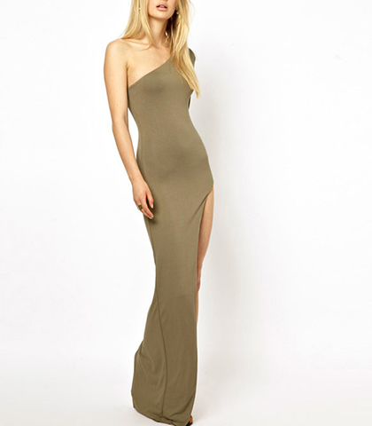One Shoulder Maxi Dress – Tantalizing Taupe / Splited