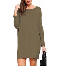 Straight Shift Dress – Long Sleeves / Loose Hemline / Round Neckline