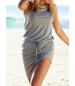 Beach Dress – Irregular Hemline / Round Neckline / Tied Waistband