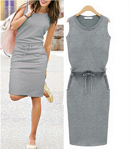 Sleeveless Gray Knee Length Dress – Front Pockets / Tied Waist / Round Neckline