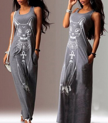 Perfect Maxi Tank Dress – Gray / Cat Print