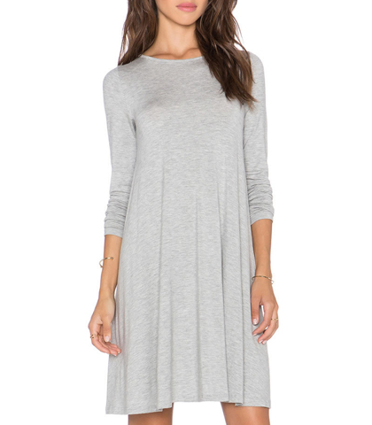 Winsome Gray T-Shirt Dress – Long Straight Sleeves