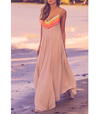 Formal Maxi Dress – Pale Peach / Yellow and Orange Trim