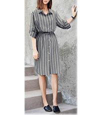 Shirtwaist Dress – Gray and White Stripes / White Buttons / Knee Length