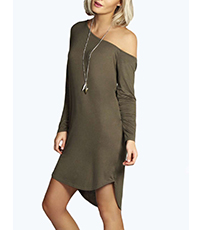 One Shoulder Long Sleeved Dress – Gray / Rounded Bottom Hem