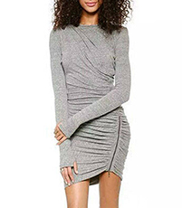 Gray Dresses – Soft Gathers / Edgy Zipper