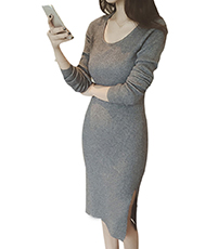 Sweater Dress – Midi Length / Gray