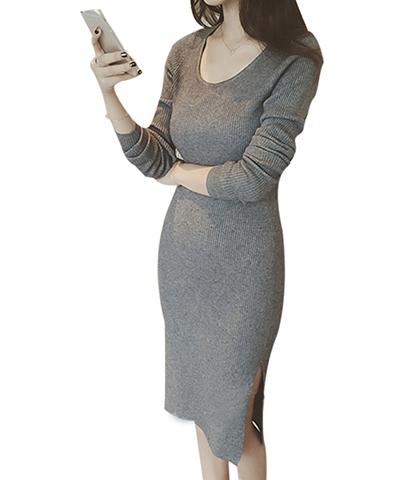 eba645d7e59 Sweater Dress - Midi Length   Gray