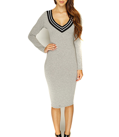 Bodycon Dress – Pale Gray / Black and White Trim / V Neckline