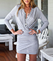 Mini Wrap Dress – Gray / Vee Neckline / Diagonally Wrapped Skirt