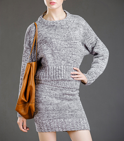 Mini Sweater Dress – Heathered Gray / Loose Top / Long Sleeves