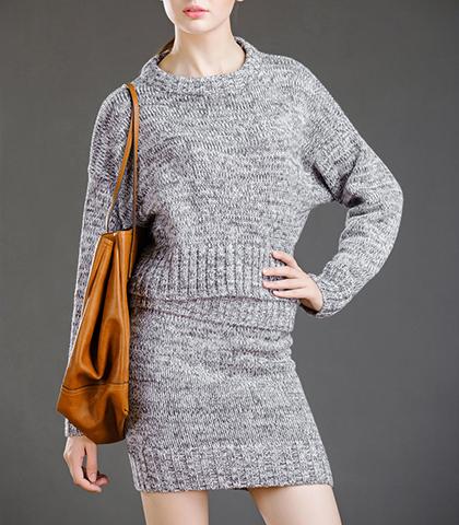 78e60ef35e724 Mini Sweater Dress - Heathered Gray   Loose Top   Long Sleeves