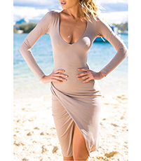 Wrap Dress – Taupe / Plunging Neckline / Long Snug Sleeves