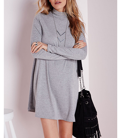 Loose Fitting Mini Dress – Light Gray / Standup Collar
