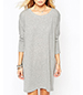 Swing-Style Dress – Light Gray / Long Sleeves