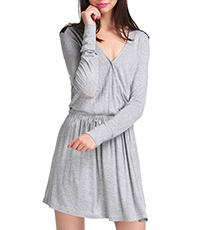 Flirty Mini Dress – Gray with Black Trim / Vee Neckline