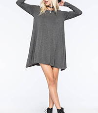 Swing Dress – Mini Length / Gray / Long Sleeves