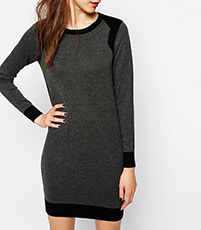 Shift Sweater Dress – Charcoal Gray with Black Trim / Long Sleeves