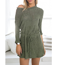 Dropped Waist Mini Sweater Dress – Gray / Drawstring
