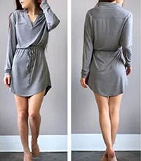 Elliptical Mini Dress – Gray / Long Sleeves / Adjustable Drawstring