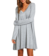 Swing Dress – Light Gray / Mini Length / Long Loose Sleeves