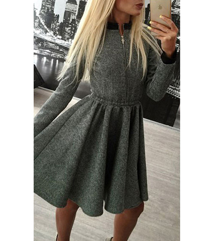Gray Fit And Flare Dress Long Sleeves