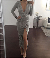 Maxi Dress – Gray / Plunging Neckline / Thigh-High Slit On One Side