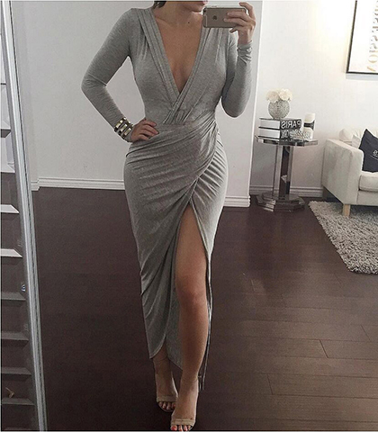 Maxi Dress – Gray   Plunging Neckline   Thigh-High Slit On One Side e5d7ee5a2