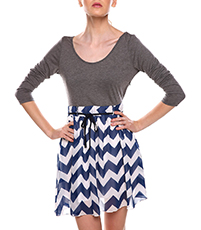 Ballet Style Mini Dress – Chevron Printed Skirt / Solid Gray Bodice