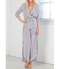 Gray Maxi Dress – Two Deep Pockets / Side Slits