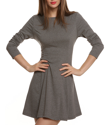 Dress with Flared Skirt – Gray / Long Sleeves