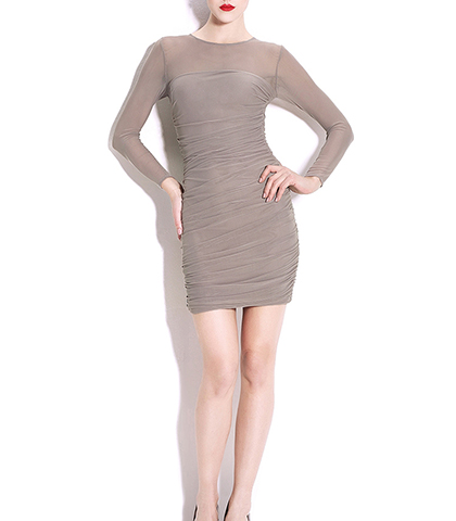 Tight Fitting Dress – Gray / Bodycon / Sheer Sleeves
