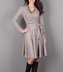 Wrap Dress – Long Sleeves / Dark Grey / Pleated