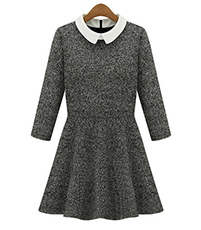 Sweater Dress with a Circular Skirt – Gray / White Collar