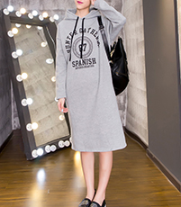 Hoodie Midi Dress – Charcoal Gray / Printed Logo