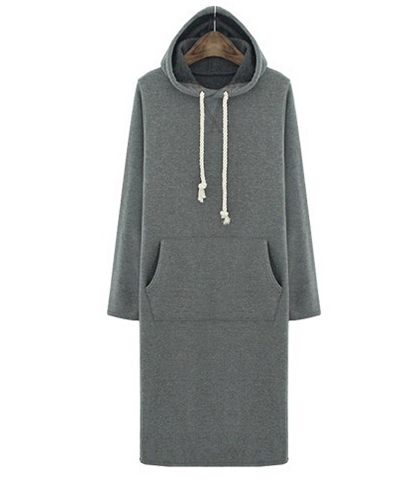 Hoodie Midi Dress – Charcoal Gray / Warm Hand Muff In Front