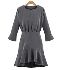 Long Sleeve Short Dress – Asymmetrical Hemline / Gray / Mermaid Ruffle