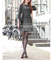 Grey Belted Dress – Conservative and Classic / Slightly Bloused Top