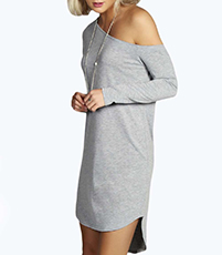 One Shoulder Dress – Gray / Long Sleeves / High Low Hemline / Cotton Knit