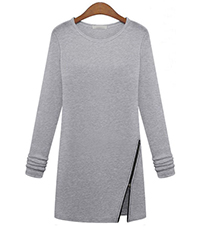 Long Sleeve Cotton Dress – Gray / Zipper Hem Detail / Topstitched