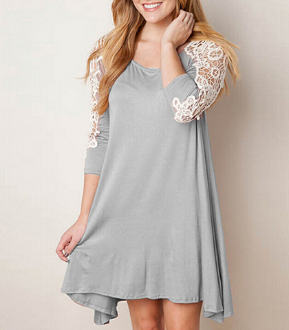 Shift Dress – Light Gray / Long Sleeves / Lace Detail / Wide Hemline