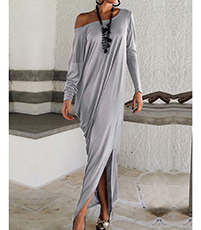 Caftan Dress – Gray / Long Slenderizing Cut