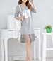 Fringed T-Shirt Dress – Long Sleeves / Round Neckline / Gray