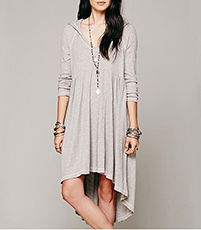 Hoodie Dress – Hi-Low Hemline / Bracelet Length Sleeves / Gray Stretch Fabric