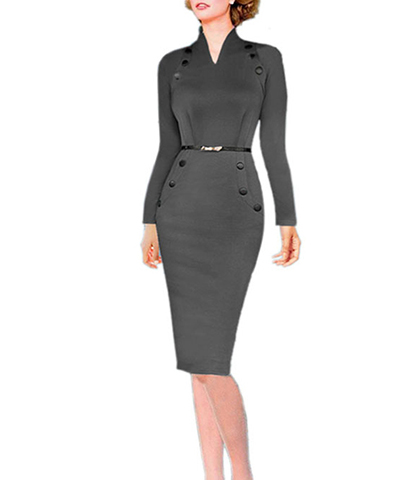 Retro Style Knee Length Dress – Long Sleeves / High Cut V-Neck / Side Pockets / Gray