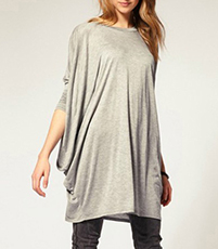 Long T-Shirt – Gray / Long Sleeves / Loose Fitting